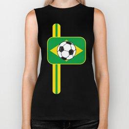Brazil Flag Football Sketch Biker Tank