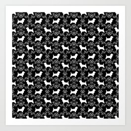 Cairn Terrier silhouette florals black and white minimal dog breed basic dog pattern Art Print