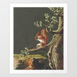 Vintage Squirrel Art, 18th Century Art Print