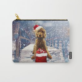Christmas Golden Doodle Carry-All Pouch