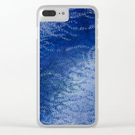 Wind-whipped Vines (blue) Clear iPhone Case