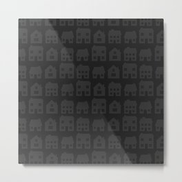 Little Scandi Houses in Dark Gray Metal Print