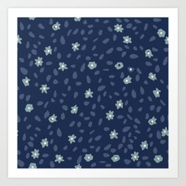 Abstract mini flowers camuflage in deep blue - Indian Floral Collection Art Print