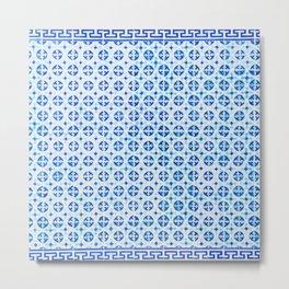 Blue Portuguese Tile Pattern Metal Print