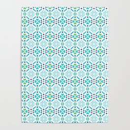 Floral Mosaic Turquoise Pattern Poster