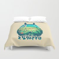 hayao miyazaki Duvet Covers featuring He Is My Neighbor by Victor Vercesi