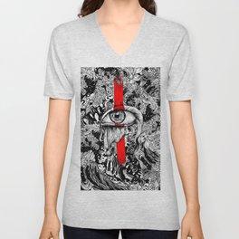 Red inked Eye Unisex V-Neck