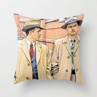 leonardo dicaprio Throw Pillows featuring Leonardo DiCaprio in Shutter Island - Colored Sketch Style by ElvisTR