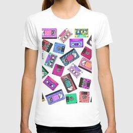 Retro 80's 90's Neon Patterned Cassette Tapes T-shirt