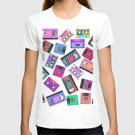 Retro 80's 90's Neon Patterned Cassette Tapes T-shirt