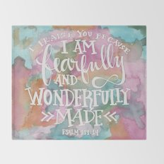 Fearfully and Wonderfully Made - Watercolor Scripture by Misty Diller Throw Blanket