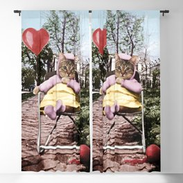 A pretty, little kitty with a heart-shaped balloon Blackout Curtain