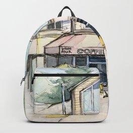 Coffee Shop Art Urban City Watercolor Backpack