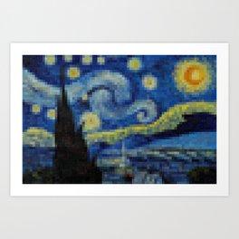 Pixel Starry Night Art Print