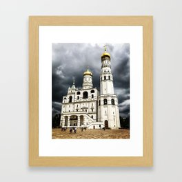 Dark clouds over Kremlin Framed Art Print