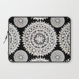 Black and Metallic White Floral Textile Mandala Laptop Sleeve