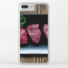 Raw Beef Steaks Clear iPhone Case