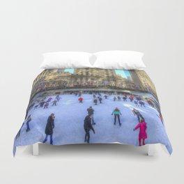 New York Ice Skating Duvet Cover