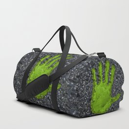 Carbon handprint / 3D render of modern city with handprint shaped park Duffle Bag