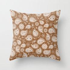 Hedgehog Paisley_Moka Throw Pillow