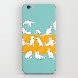 Cute Cats on Yellow Couch | Blue iPhone Skin