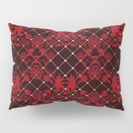 Retro .Vintage . Black red openwork ornament . Pillow Sham