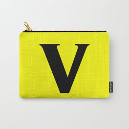 v (BLACK & YELLOW LETTERS) Carry-All Pouch