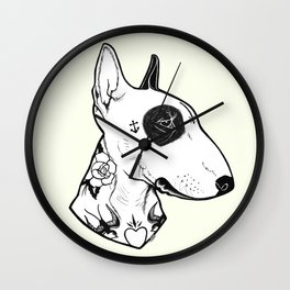 Bull Terrier dog Tattooed Wall Clock