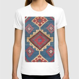 Vintage Woven Kilim II // 19th Century Colorful Royal Blue Yellow Authentic Classic Ornate Accent Pa T-shirt