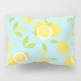 Bright And Sunny And Stamped Lemon Citrus Pattern Pillow Sham