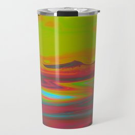 """Pixel Beach"" (Yellow/Red) Digital Painting // Fine Art Print Travel Mug"