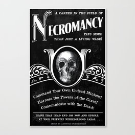 Faux School of Necromancy Recruitment Poster Canvas Print
