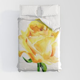 Single Yellow Rose Watercolour Painting Comforters
