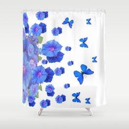 BABY BLUE ART BLUE BUTTERFLIES & MORNING GLORIES Shower Curtain