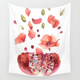 My heart is full of flowers / pomegranate and poppies Wall Tapestry