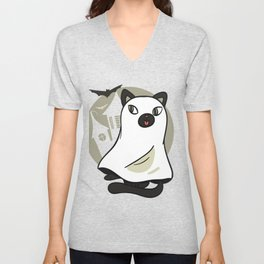 Sweet cat disguised as ghost Unisex V-Neck