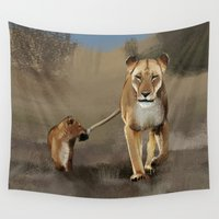 lions Wall Tapestries featuring Lions by Elena Napoli