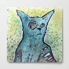 Kuro the Zombie Cat Metal Print