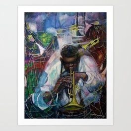African American Masterpiece 'Old Time Mississippi Jazz' by W. Tolliver Art Print