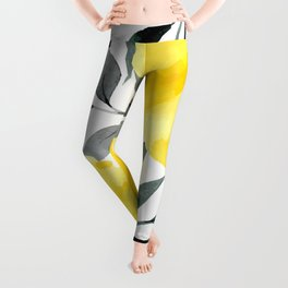 Big yellow watercolor flowers Leggings