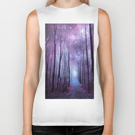 Fantasy Forest Path Muted Violet Biker Tank