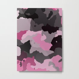 Black Gray and Pink Camouflage Metal Print