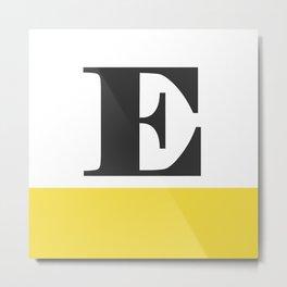 Monogram Letter E-Pantone-Buttercup Metal Print