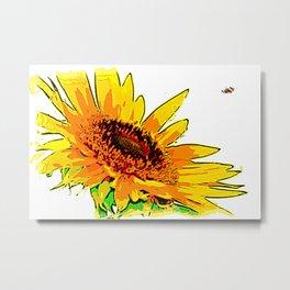 Sunflower Bee Approaching Metal Print