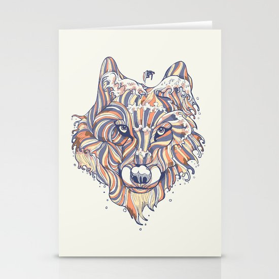 Wave Wolf Stationery Cards