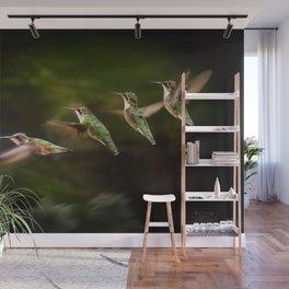 Humming Bird in Flight Wall Mural