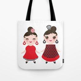 Spanish Woman flamenco dancer. Kawaii cute face with pink cheeks and winking eyes. Gipsy girl Tote Bag
