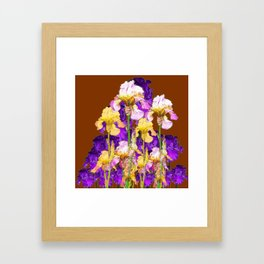 IRIS GARDEN ON CHOCOLATE BROWN Framed Art Print