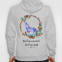 Heart of a Warrior Soul of a Wolf Typography Hoody