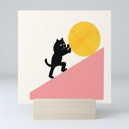 Cat Sisyphus — Cat and Moon Illustration Mini Art Print
